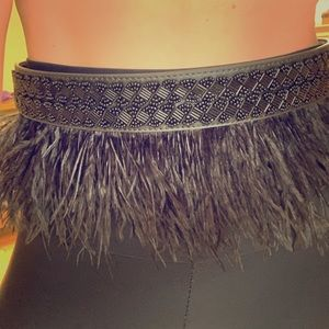 Bebe feather beaded belt size S